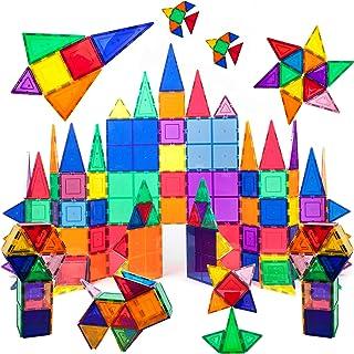 PicassoTiles 100 个套装 100 个磁铁积木块透明磁性 3D 积木建筑游戏板,创造力超越想象力,创意,娱乐,教育传统