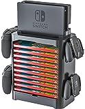 Skywin 游戏存储塔 任天堂 Switch - 游戏磁盘架和控制器整理器兼容 Nintendo Switch 和配件