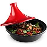 Kook Moroccan Tagine,陶瓷盖,铸铁底座,红色,火炉适用