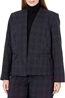 Kasper 女式加大码格子无领夹克,带弹力袖