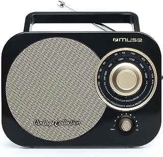 Muse 便携式2 频段收音机 FM/MW,复古风格,手提把手,伸缩天线M-055 RB