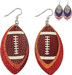 女式足球耳环 - 闪光皮革耳环 - 足球礼品/配饰耳环 - 美式足球红色皮革耳环 - 两件套 - 商场风格(红色和金色)