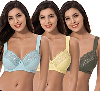 Curve Muse Plus Size Unlined Minimizer Underwire Bra with Embroidery Lace-3 Pack
