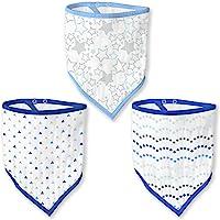 SwaddleDesigns棉平纹细布襁褓毯,4件套 Blue/Shimmer One Size