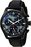 """Alpina 男士""""星际计时""""瑞士石英不锈钢和皮革休闲手表,颜色:黑色(型号:AL-372BMLY4FBS6)"""