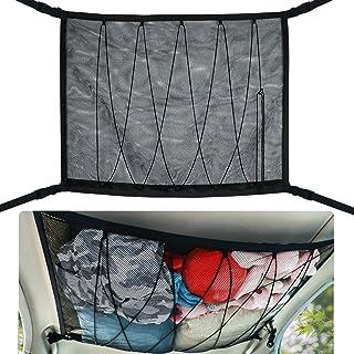 SUV 汽车天花板货物网袋,PJLJY 90.16 厘米 x 64.75 厘米汽车屋顶储物收纳袋,长途露营,可调节 SUV 储物袋,铝制双拉链扣帐篷夹被玩具太阳眼镜黑色