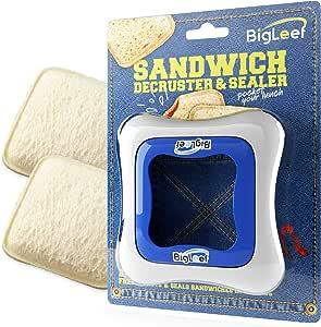 BigLeef 三明治切割器,密封剂和去屑机 - 去除面包皮,制作DIY口袋三明治 - *,不含双酚A,食品级模具 - 耐用,便携,易于使用,可放入洗碗机清洗