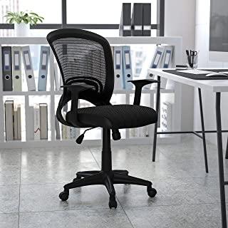 Flash Furniture 中靠背设计师黑色网眼旋转办公椅带扶手