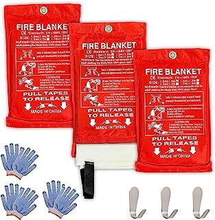 Safe Fire Blanket 紧急求生套装,包含灭火和灭火毯,带防护手套和挂钩,适合*露营、烧烤、厨房、汽车和人员,尺寸 101.6 厘米 x 101.6 厘米 (3)