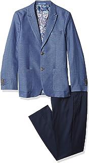 Isaac Mizrahi 男孩修身款 2 件套 Birdseye 撞色西装