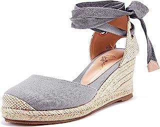 Ruanyu 女式防水台帆布便鞋凉鞋系带闭趾夏季坡跟凉鞋