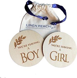 "Linen Perch 出生公告标志 - 个性化木质婴儿出生公告 - *新生儿标志 - 新生儿摄影道具 - 新生儿姓名标签 - ""We 're Having a Boy/Girl"""