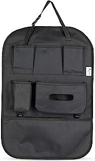 DoRan 汽车后座收纳袋 - 儿童和学步儿童踢脚垫座椅靠背保护罩(黑色 1 个/包)