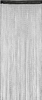 Relaxdays 纱帘,闪光,90 x 245 厘米,可缩短,拉绳,适用于门和窗户,可洗,线帘,黑色