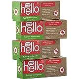 Hello Oral Care ADA 认证氟化物儿童牙膏,素食和SLS,天然野生草莓味,4.2 盎司(120g)(4…