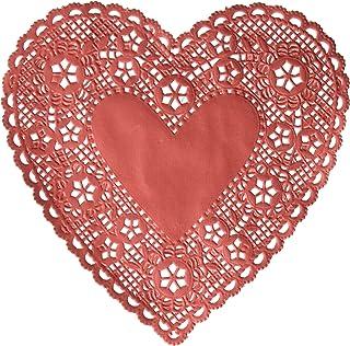 学校智能心形纸花边 - 15.24 厘米 - 100 件装 - 红色