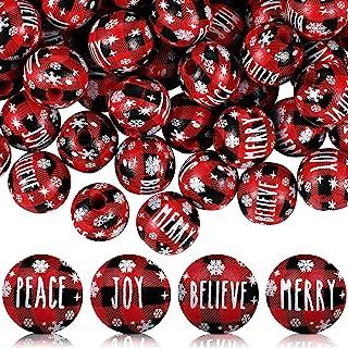 80 件圣诞红色格子文字木珠雪花问候木珠 0.63 英寸(约 1.6 厘米)欢乐和平雪花珠相信快乐格子珠农舍间隔珠 DIY 工艺制作装饰供应