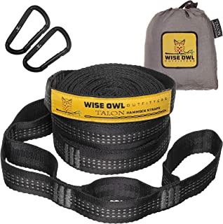 Wise Owl Outfitters 吊床吊带组合长 50.8 厘米,38 个环带 2 个D钩环 - 轻松调节树木友好必备配件和工具,可用于悬挂野营吊床