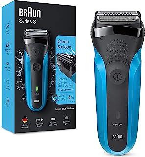 Braun 博朗 3系列 310 男士电动剃须刀 干湿两用电动剃须刀,带 3 个灵活刀片,可充电无线电动铝箔可水洗剃须刀 黑色/蓝色,2 针插头