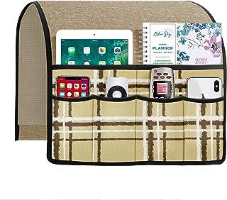 Joywell 亚麻格子沙发扶手收纳架,适用于躺椅,扶手椅架,带 6 个口袋,可存放杂志、平板电脑、手机、iPad、卡其色