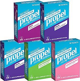 Propel Powder Packets 补充剂,四种口味包装,含电解质、维生素,无糖(50粒)