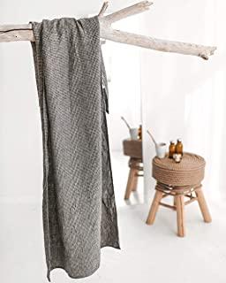 * 亚麻超大浴巾 - 超大浴巾 152.4 x 203.2 cm 黑色天然华夫饼亚麻毯子投掷,轻质吸水薄浴巾,适合成人,速干 XL 沙滩毛巾