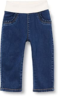 Sanetta 女婴深蓝色基本款牛仔裤,配有柔软的信封腰带,十分棒