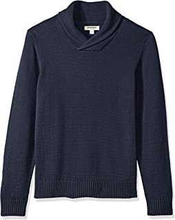 Goodthreads Men's Soft Cotton Shawl Pullover Sweater, Solid Navy, Medium