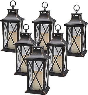 YAKii 14 英寸(约 35.6 厘米)装饰蜡烛灯 LED 无焰蜡烛定时器,塑料 LED 蜡烛和支架,室内外悬挂灯,6 件装(古铜拉丝)
