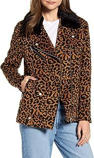 Avec Les Filles 女式人造皮草羊毛领夹克   尺码 XX-S   颜色棕色