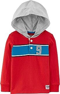 Osh Kosh B'Gosh 男童小连帽橄榄球上衣长袖,红色/蓝色/灰色/*蓝,尺码 12 个月