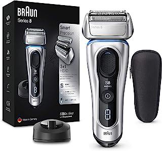Braun 博朗 Series 8 系列8 8350s 下一代电动剃须刀,带充电支架和织物旅行箱,干湿两用,防水,可充电,无绳,银色,2芯插头