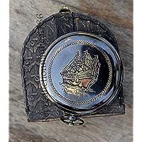 Ross London 复古黄铜按钮工作指南针带皮革印花锚图案复古海洋爱好者露营和徒步旅行礼物