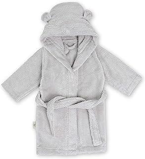 Natemia 婴幼儿*连帽浴袍 - 超柔软和吸水 GOTS 认证土耳其棉儿童睡袍 - 土耳其制造 灰色 2-3 y