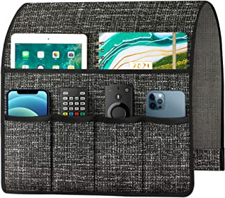 Joywell 厚亚麻沙发扶手椅架扶手收纳架,遥控支架,适用于躺椅,配有 6 个口袋,用于杂志、平板电脑、手机、iPad、深灰色