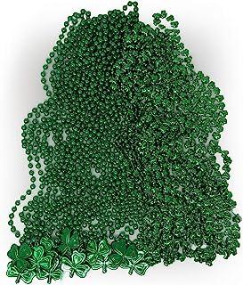 "4E's Novelty Bulk 24 *三叶草形状串珠项链 - 12 颗三叶草串珠,12 颗绿珠 33"" 8mm 三叶草徽章 - 圣帕特里克节爱尔兰三叶草珠项链派对礼品包"