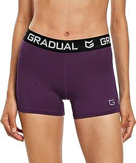 女式氨纶压缩排球短裤 3 英寸/7 英寸健身专业短裤