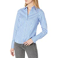 Foxcroft 女式 Petite Lauren 棉缎条纹免烫衬衫