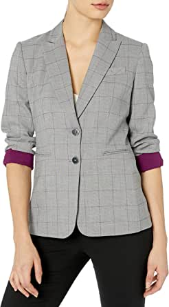 Tahari ASL 女式 2 粒扣卷袖夹克