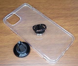 iPhone 11 Pro Max 配件套装透明手机壳环指托和磁性车载支架青铜色/黑色