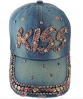 女式棒球帽,牛仔布,水钻闪亮,可调12种风格