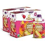 Happy Tot 4段 纤维和蛋白质 梨 覆盆子 胡桃 南瓜和胡萝卜 混合口味果泥 113g*16件装(包装可能有所不…