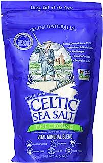 Celtic Sea Salt 海盐–16盎司(约453克)可重新密封 健康经典 适合烹饪、烘焙、腌制、精加工 餐具室友好 无麸质