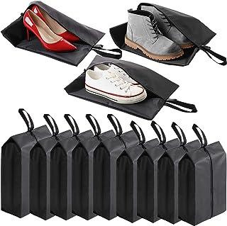 2 个独特的旅行鞋袋,男女均适用。 9 套便携式旅行鞋包装便携包手提箱收纳袋,黑色防水尼龙拉链,旅行鞋袋。 9 套
