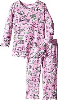 Sara's Prints 女婴舒适荷叶边宽松睡衣套装 糖果涂鸦 18 Months
