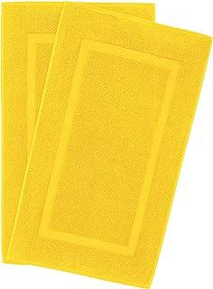 900 GSM 可机洗 20x34 英寸 2 件装带状浴室垫,奢华酒店和水疗品质,环纺棉,United Home 纺织品提供*大的柔软度和吸水性,柠檬黄