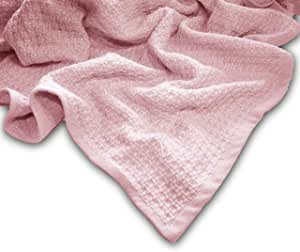 Zoog *棉天然染料优质 GOTS 认证非化学* * *棉柔软针织 78.74 厘米 x 101.6 厘米婴儿蓝色和粉色幼儿毯襁褓 粉红色