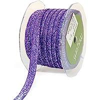 May Arts 3/8 英寸宽丝带,紫色金属天鹅绒
