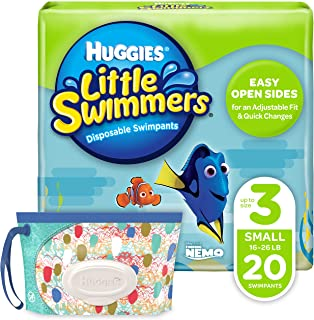 Huggies Little Swimmers Disposable Swim Diaper, Swimpants, Size 3 Small (16-26 lb.), 20 Ct, with Huggies Wipes Clutch 'N' ...