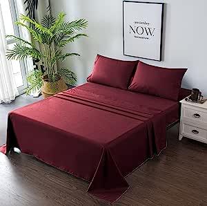 Goza Bedding 4 件套超细纤维床单套装 *红色 King